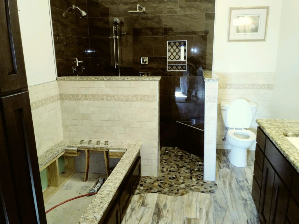 Bathroom Shower With Beautiful Natural Stone Tiling Bounds Flooring Inc